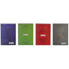 """Блокнот на пружине сверху, А-5, 48л, """"Монохром"""" , JOBMAX , зеленый, клетка, картонная обложка"""