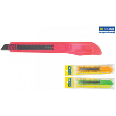 Нож канцелярский 9мм, пласт. корпус, мех. фиксатор лезвия, JOBMAX