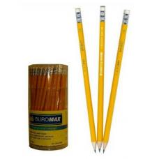 Карандаш графитовый HB, желтый, с ластиком , JOBMAX