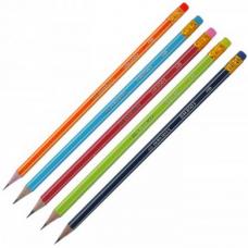 Карандаш графитовый Graphit НВ, ассорти с белой полосой, с ластиком, карт. коробка