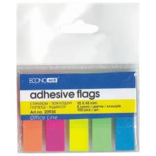 Закладки с клейким слоем Economix, 15х45, 5 цветов неон, бумажные, 150шт.